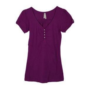 Fashion Clothing V-Neck Short Sleeve Women Cotton T-Shirt pictures & photos