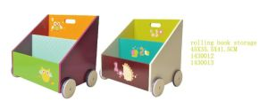 Children Furniture Wooden Book Container Toy Box Storage Box with Wheels pictures & photos