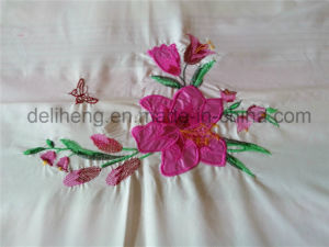 3PCS Embroidered 100% Microfiber Polyester Bleached White Bed Sheet Set pictures & photos