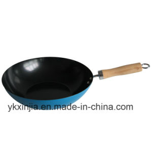 Kitchenware Blue Carbon Steel Non-Stick Cookware Wok pictures & photos