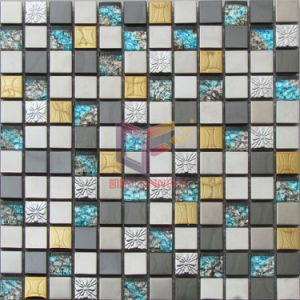 Blue Glass with Gold, Black, and Silver Stainless Steel Mosaic Tile (CFM936) pictures & photos