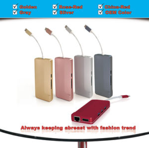 USB C Hub Aluminum Alloy to Multi-Port Type C Hub Adapter with 4k HDMI (30Hz) , USB3.1 Pass Through Charging, Ethernet, SD Card Reader, and 3 USB 3.0 Ports pictures & photos