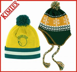 Fashion Acrylic Winter Jacquard Knitted Cap with POM POM pictures & photos