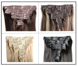 Double Drawn Remy Clip 0n Hair Extension, 100% Human Hair Clip in Hair Extension Wholesale pictures & photos