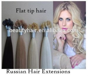 Cheap Wholesale Double Drawn Virgin Russian Hair Flat Tip Hair Extensions pictures & photos