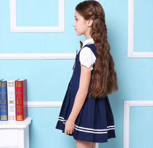 Custom New Design Cotton Students Wear School Uniform Short Sleeves Girl′s Dress pictures & photos