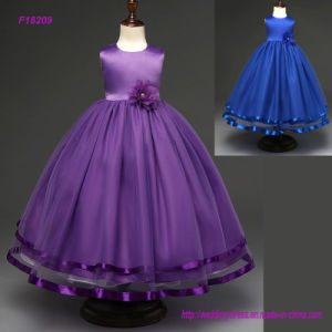 Pupular Fashion Children Kids Wedding Dress Flower Bow Girls Frock Summer Party Dress pictures & photos