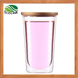 Heat-Resisting Glass Cup with Bamboo Lid 350ml pictures & photos