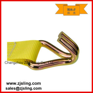"4"" X 50′ Yellow W/ Wire Hooks Ratchet Lashing Strap pictures & photos"