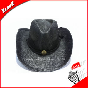 Black Paper Straw Cowboy Hat pictures & photos
