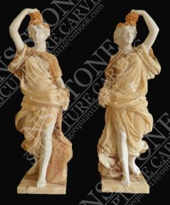 Mixed Color Carved Stone Marble Four Season Lady Statues with Fruites pictures & photos