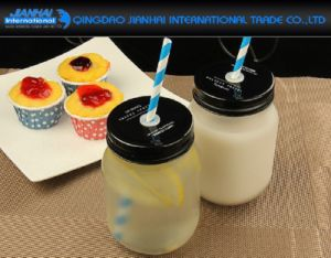 470ml Frosted Milk Fruit Vinegar Glass Mason Jar with Cover pictures & photos