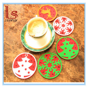 Wholesale New Christmas Decorations Non Woven Coffee Cup Mat Coaste pictures & photos