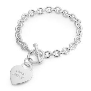 Classic Padlock Heart Toggle Bracelet