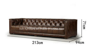 New Design Vintage Leather Living Room Leisure Sofa (Home Furniture) pictures & photos