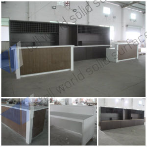 LED Reception Counter, Marble Office Front Desk, Corian Modern Design pictures & photos