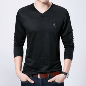 Long Floral Sleeve V-Neck Collar Plain Casual Slim Fit T-Shirt pictures & photos