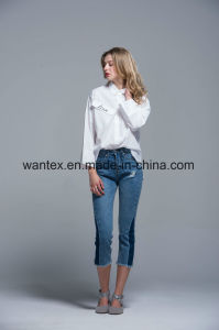 Ladies Blouse 100% Cotton Fashion Shirt Fashion Top Spring Autumn pictures & photos