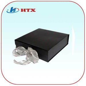 Customized Black Carboard Packing Box with Ribbon for Gift