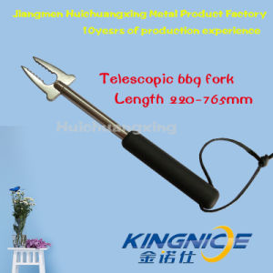 New Item Telescopic Stainless Steel BBQ Hot Dags Forks Plastic TPR Handle pictures & photos