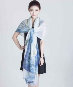 100% Silk Chiffon Scarf with Digital Printing pictures & photos