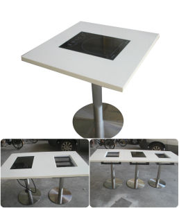 Wholesale Resin Stone Hot Pot Table Restaurant Table and Chair Design Marble Hotpot Table for Sale pictures & photos