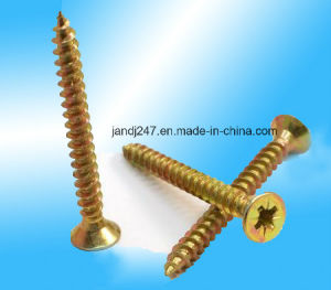 Yellow Zinc-Plated DIN7505 Pozi Head Chipboard Screw pictures & photos