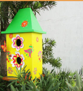 Floral Painting Wooden Bird House for Garden (WH-008) pictures & photos
