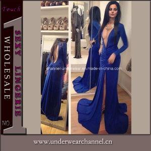 Blue Deep V Neck Long Sleeve Evening Long Dress (TMKF126) pictures & photos