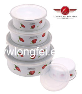 204D 5PCS New Style Enamel Bowl Storage Bowls with Beautiful Decal pictures & photos