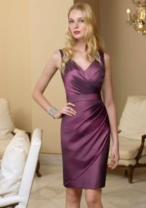 2013 V-Neckline Satin Bridesmaid Dress (B018)