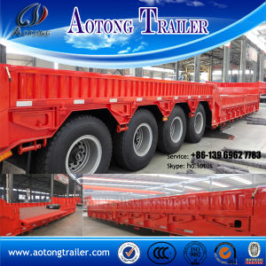 100 Tons 4 Axles Lowboy Semi Trailer for Machine Transport pictures & photos
