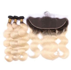 Popular Ombre Black Blonde 1b 613 Hair Weave with Lace Closure