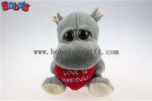 Valentines Day Gift Toy Big Eyes Stuffed Grey Hippo Animal Toys with Red Heart Pillow Bos1175 pictures & photos