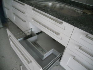 Walnut Solid Wood Kitchen Furnitures with Granite Countertop Kc-073 pictures & photos