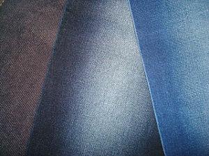 Cotton Blenched Slub Twill Stretch Denim Fabric Indigo Dark Blue pictures & photos