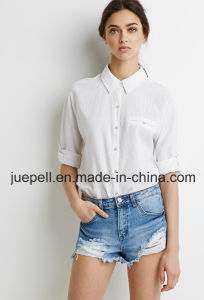 3/4-Sleeved Button Front Buttoned Mock Welt Pocket Classic Textured Women Shirt pictures & photos