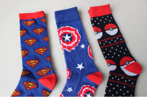 Spring Autumn Individuation Cotton Captain America Elves Ball Men′s Stockings pictures & photos