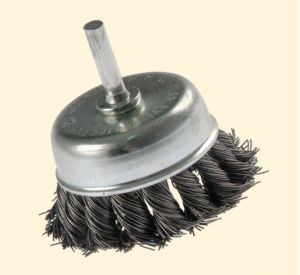 Knotted Cup Wire Brush with Shaft pictures & photos