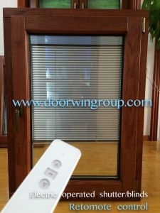 Solid Oak Wood Aluminum Window for Middle East Palace, Style of Aluminum Window with Built-in Environmantal Shutters pictures & photos