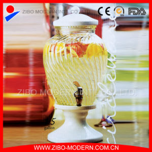 Glass Beverage Dispenser with Ceramic Lid and Stand pictures & photos