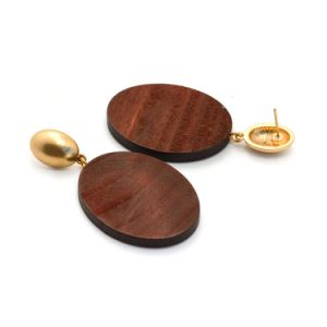 Latest Fashion Jewelry Oval Brown Natural Wood Dangle Drop Earrings pictures & photos