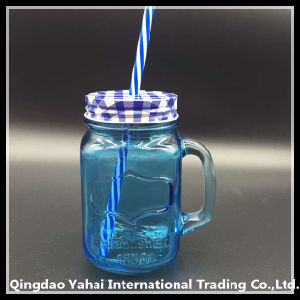 450ml Glass Jar with Blue Color / Glass Handle Jar pictures & photos