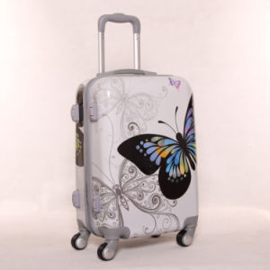 Wholesale Gift High-Grade Butterfly Bright Surface PC Pull Rod Box Universal Wheel Luggage pictures & photos