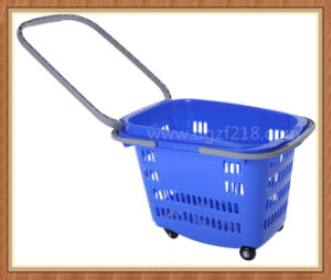 30L Customized Colored Trolley Plastic Supermarket Basket for Shopping pictures & photos
