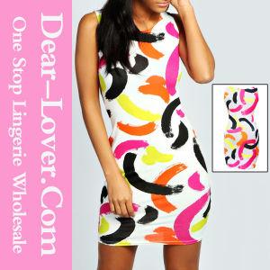 Vogue Colorful Paint Stroke Print Dress pictures & photos