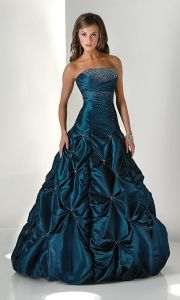 Long Peacock Taffeta Ball Gown Prom Gowns (PD3009) pictures & photos