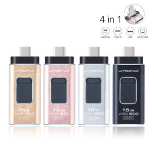 OTG Pen Drive 4in1 Metal USB Flash Drive for Ios/Android/Tablet PC/Type C Micro USB Stick Flash Drive pictures & photos