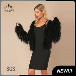 Woemn Long Sleeve Fashion Fur Knitted Cardigan Sweater pictures & photos