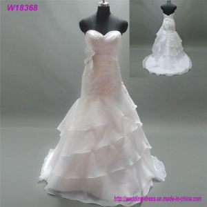 White Organza Lace Beads Sleeve Ruffled Wedding Dresses pictures & photos
